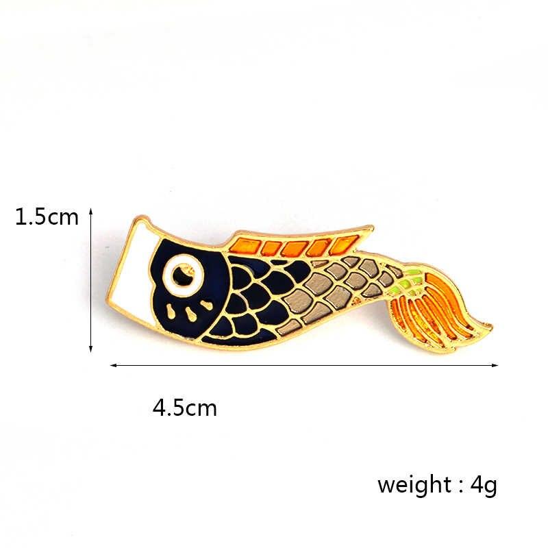 Enamel Nishikigoi Jepang Ikan Koi Ikan Pin Vintage Bijoux Brocade Femme Pria Unisex Perhiasan Jilbab Pin Bros Pin