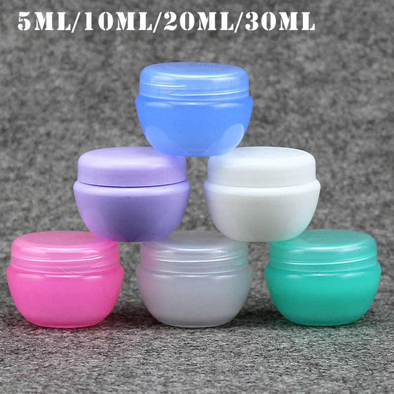 5pcs 5g/10g/20g/30g Empty Plastic Travel Cosmetic Jars Makeup Container Mushroom Bottles Vials Face Cream Sample Pots Gel Boxes