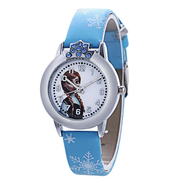 Fashion Brand Cute Kids Quartz Watch Children Girls Leather Crystal Bracelet Cartoon Wrist Watch Wristwatch Clock 8A04