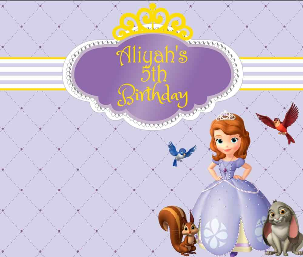 custom princess sofia first birthday striped purple photo backdrop High  quality Computer print party background aa2892d27