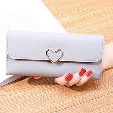 Купить с кэшбэком Love Sequined Long Wallet Women Purse 3 Fold Slim Wallets Coin Pocket Card Holder Phone Bag PU Money Purses for Women Wallets