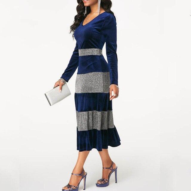 NORMOV 2019 Fashion Women Autumn Winter Plus Size Velvet Dress Elegant Party Sequin Patchwor Dress Ruffle 3 Color Midi Dresses 2