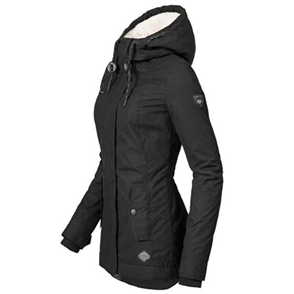 HTB1NDtBXffsK1RjSszgq6yXzpXaM Black Cotton Coats Women Casual Hooded Jacket Coat Fashion Simple High Street Slim 2019 Winter Warm Thicken Basic Tops Female