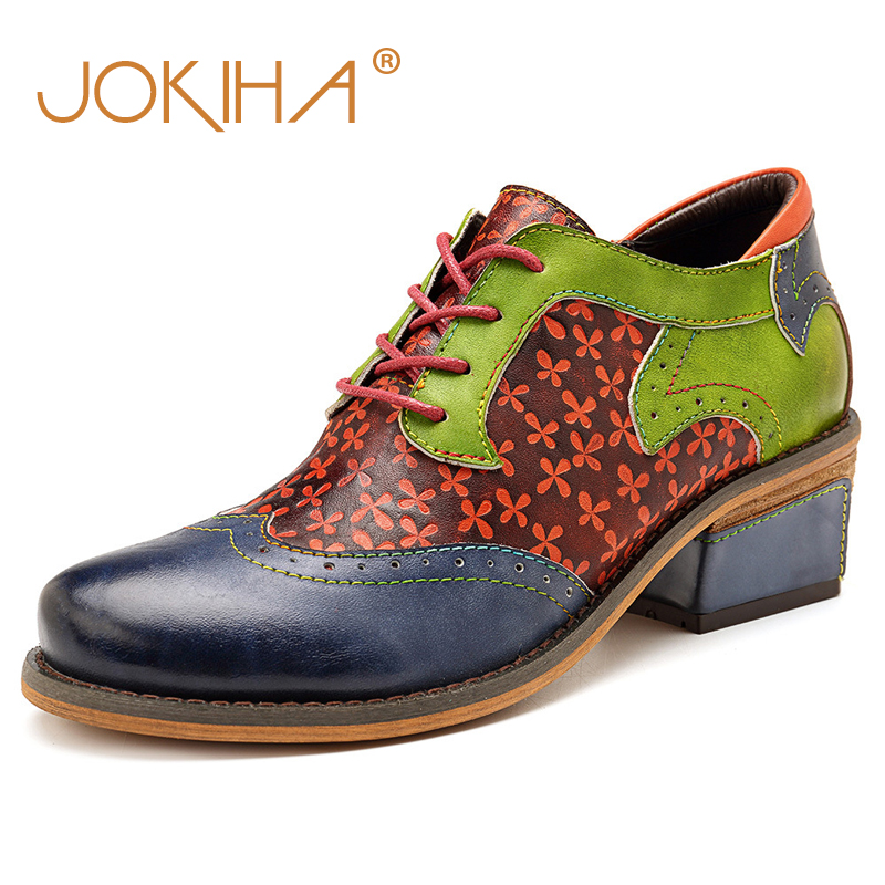 2019 New Hot Brand Design Leather Womens Brogue Shoes Med Heel Brown Green British Style Ladies Casual Shoes Woman Loafers 422019 New Hot Brand Design Leather Womens Brogue Shoes Med Heel Brown Green British Style Ladies Casual Shoes Woman Loafers 42