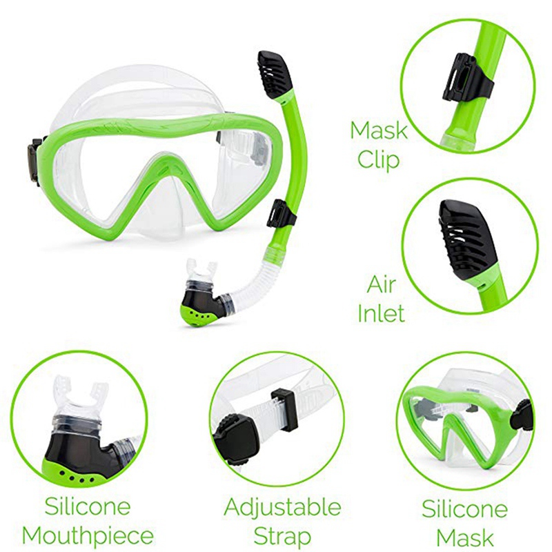Kids Underwater Accessories Set Diving Goggle Mask Breathing Tube Shockproof Anti-fog Swimming Glasses Band Snorkeling image