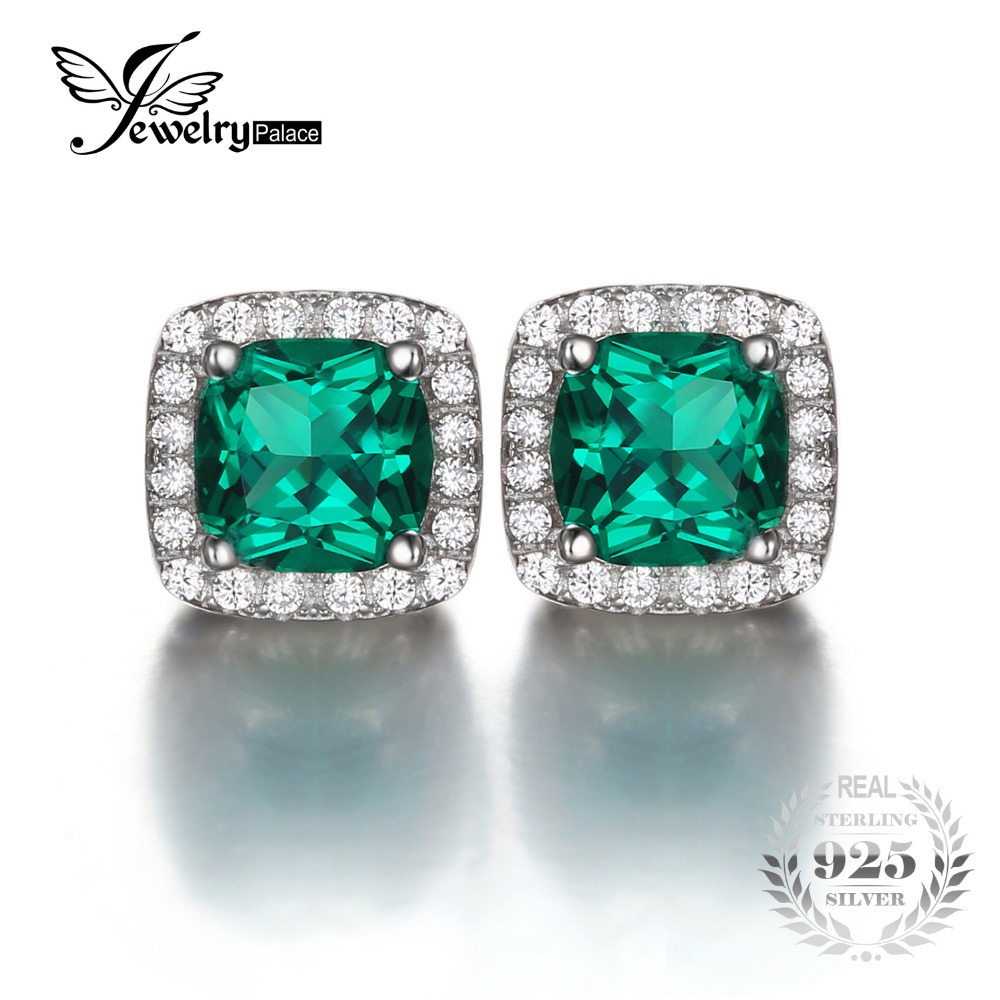 Jewelrypalace Solid 925 Sterling Silver Cushion 2 1ct Created Emerald Halo Stud Earrings Fine Jewelry For Women In From Accessories On
