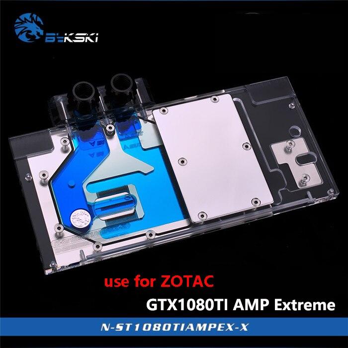 BYKSKI utilisation du bloc d'eau pour ZOTAC GTX1080TI AMP édition extrême/AMP Core édition/ZT-P10810D-10 couverture complète GPU bloc de radiateur RGB