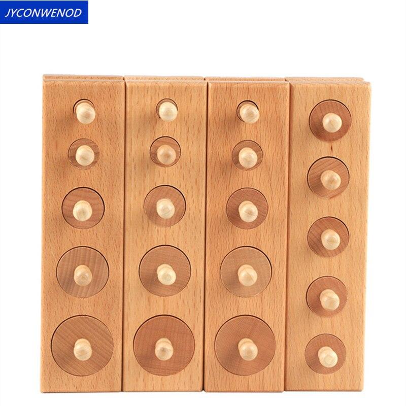4PC/1 ensemble Montessori cylindre douille blocs jouet pour enfants bébé développement pratique et sens éducatifs jouets en bois