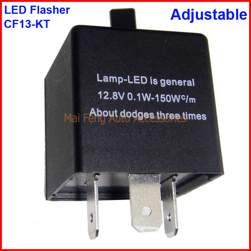 2PCS CF13-KT LED Flasher Adjustable 3 Pin Electronic Relay Car Fix LED Turn Signal Error Flashing Blinker 12V 0.02A TO 20A 2017 new universial 3 pin electronic flasher relay module cf13 fix led turn signal light motorcycle error fast flasher hot