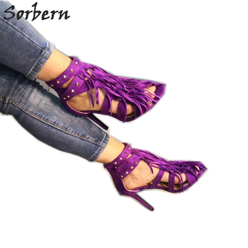 Sorbern Purple Studded Heels Crossdresser Sandals For Woman High Heel Stilettos Tassel Embellished Sandals Female ShoesSorbern Purple Studded Heels Crossdresser Sandals For Woman High Heel Stilettos Tassel Embellished Sandals Female Shoes