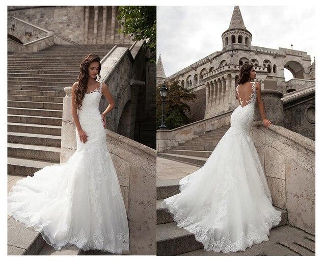 LORIE  Mermaid Wedding Dress See Through Back 2019 Vestidos de novia Vintage Sexy Scoop Neck Bride Dresses Floor length