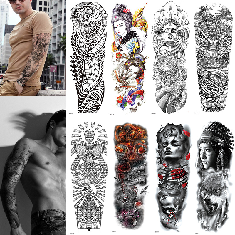 Large Arm Sleeve Tattoo Waterproof Temporary Tattoo Sticker Skull Angel Rose Lotus Men Full