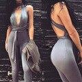 2016 Новые Моды для Женщин Лето Vestidos Bodycon Комбинезоны Женщин Сексуальный Клуб Бинты Комбинезон Боди Без Рукавов комбинезон комбинезоны