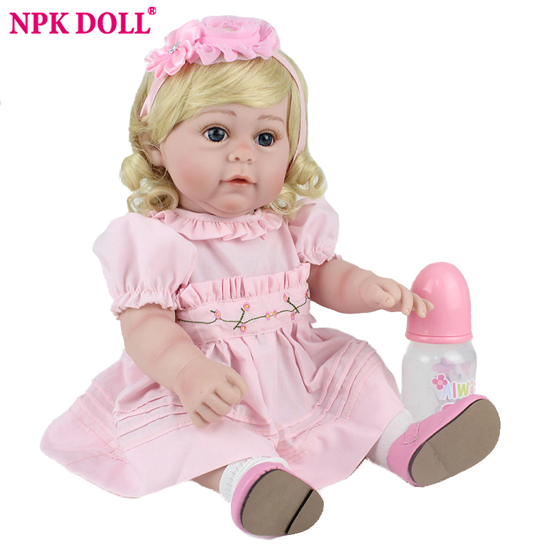 NPKDOLL Reborn Baby Doll 45cm Pink Princess Dress Lifelike Real Babe Realistic Kids Playmate Collection Toy
