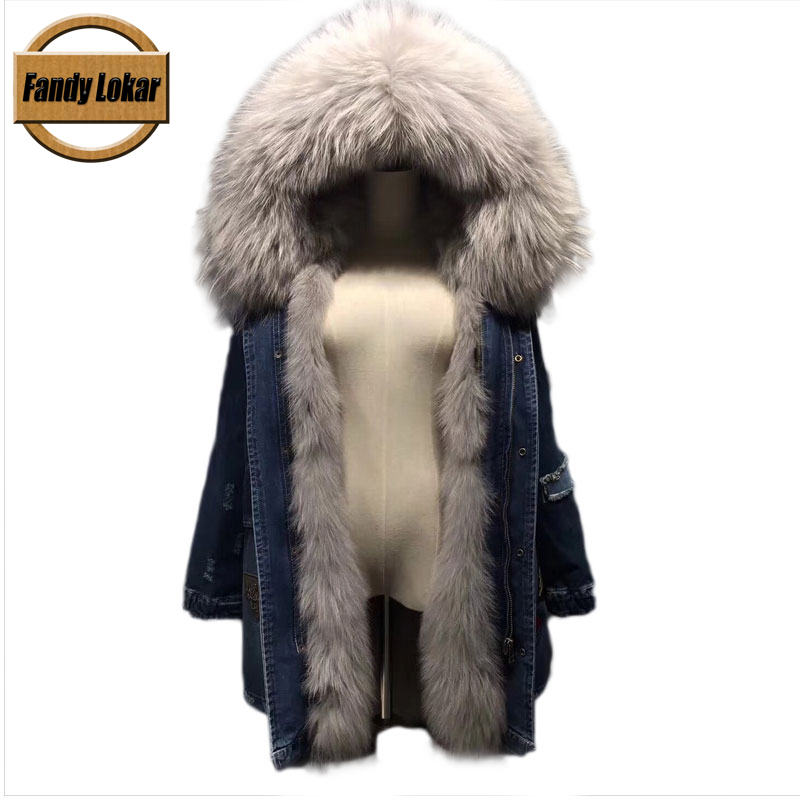 Solid Long Warm Raccoon Fur Collar Coat Women Winter Real Fox Fur Liner Hooded Jacket Women Bomber Parka Female Ladies FP9114 2017 winter new clothes to overcome the coat of women in the long reed rabbit hair fur fur coat fox raccoon fur collar