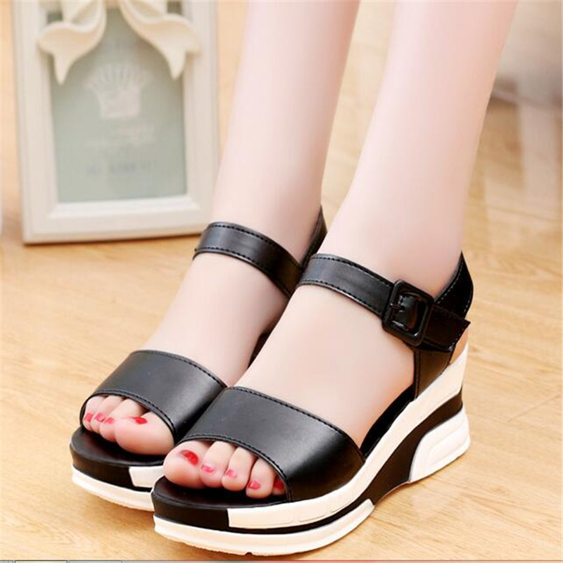 Summer Style Women Platform Sandals Soft Leather Casual Shoes Gladiator wedges Trifle Mujer Women Beach Shoes Sandal 2017 2017 summer shoes woman platform sandals women soft leather casual open toe gladiator wedges sandalia mujer women shoes flats