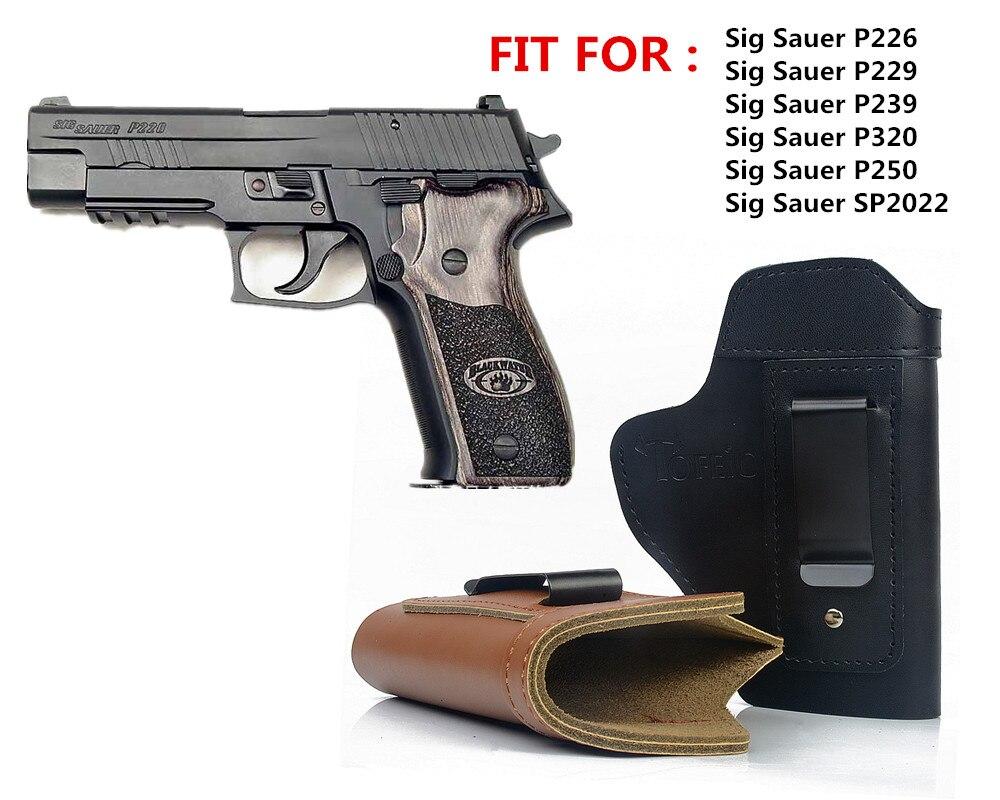 Caché En Cuir IWB Holster Carry Étui Pistolet pour Sig Sauer P226 SP2022 P229 P250 Glock 17 19 43 Beretta 92 étui accessoire
