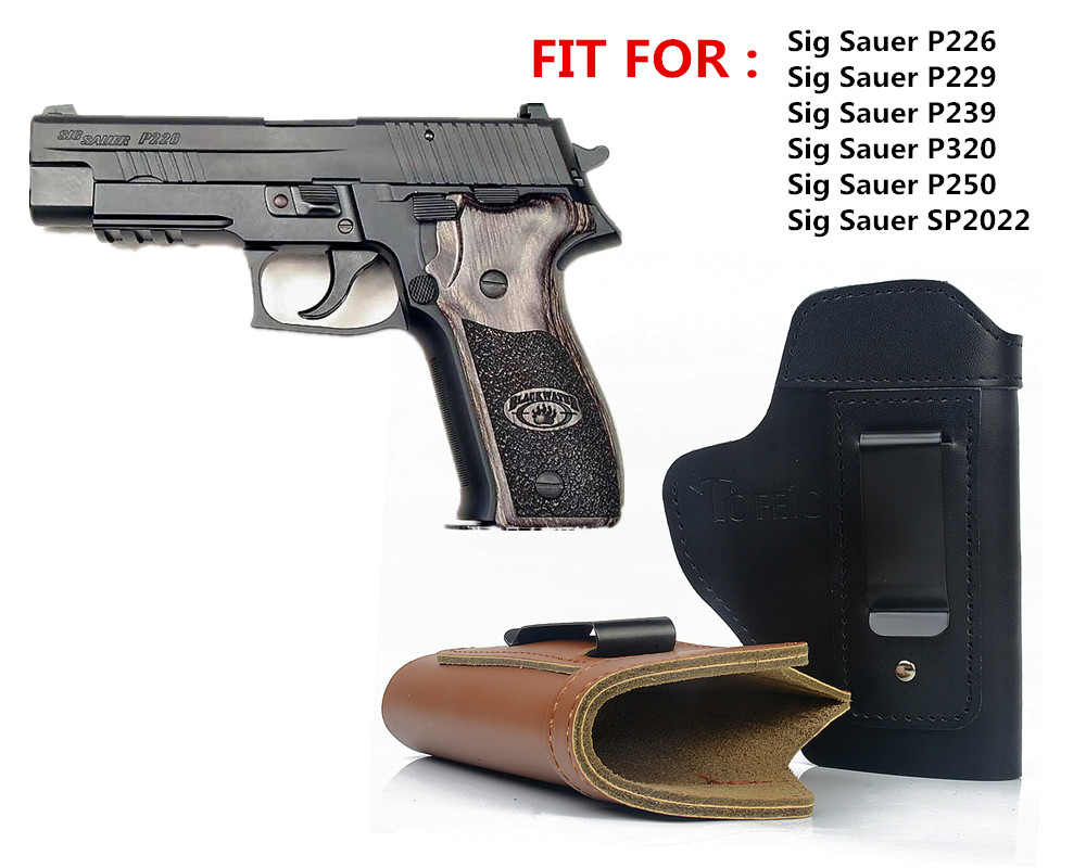 Concealed Leather IWB Holster Carry Gun Holster for Sig Sauer P226 SP2022 P229 P250 Glock 17 19 43 Beretta 92 holster accessorie military tactical drop leg thigh holster lv3 light bearing holster for sig sauer p226 p228 p229
