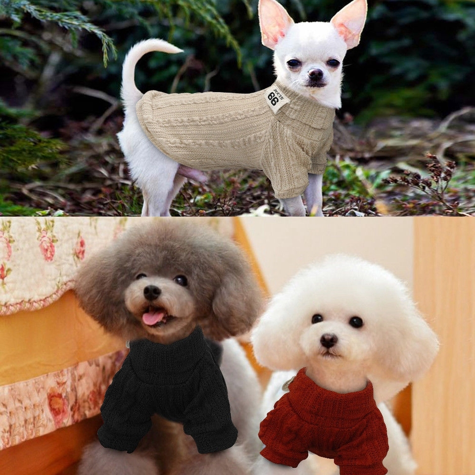US $3.99  Pet Dog Jumpers Coats Hand Knit Cat Puppy Chihuahua Clothes POLO Neck Sweaters dog jumper chihuahua sweatersdog knitted sweater AliExpress
