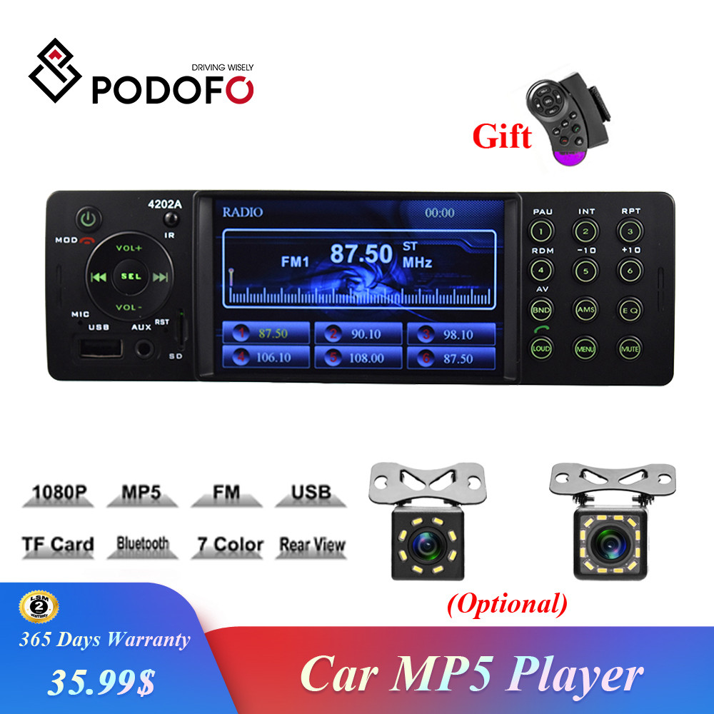 Podofo 1 Din <font><b>Car</b></font> Stereo 4 Inch Auto Radio 4202A Bluetooth Autoradio USB SD Aux FM Receiver Handsfree In-dash HD MP5 <font><b>Video</b></font> Player image