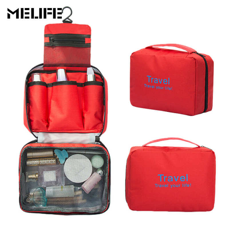 MELIFE New Makeup Cosmetic Folding bag Wash Travel Toiletry Hanging Korean style Cool pack Waterproof make up large Handbag