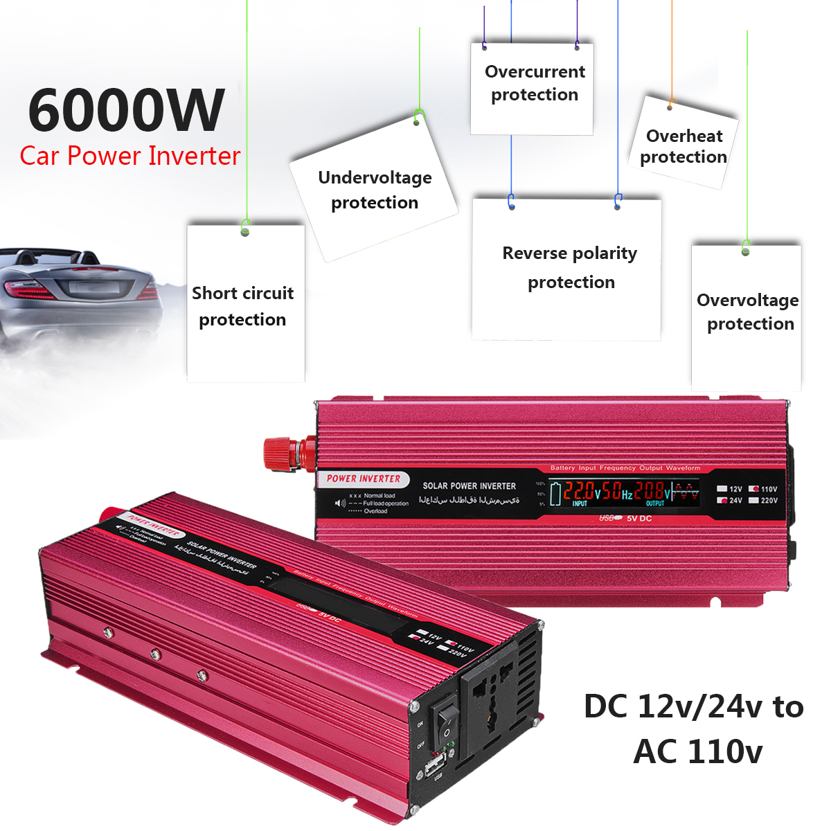 Car Solar Power Inverter USB Modified PEAK 6000W 12/24V To AC 220/110V Sine Wave Voltage Transformer Aluminum Alloy Universal батарейки duracell basic lr6 4bl aa 4 шт