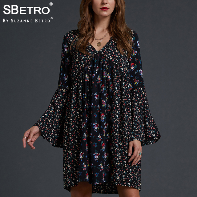 110386e4707 SBetro By Suzanne Betro Floral V Neck Dresses Mix Twin Print Empire Waist Bell  Sleeve Knee Length Casual Dress Women Plus Size-in Dresses from Women's ...