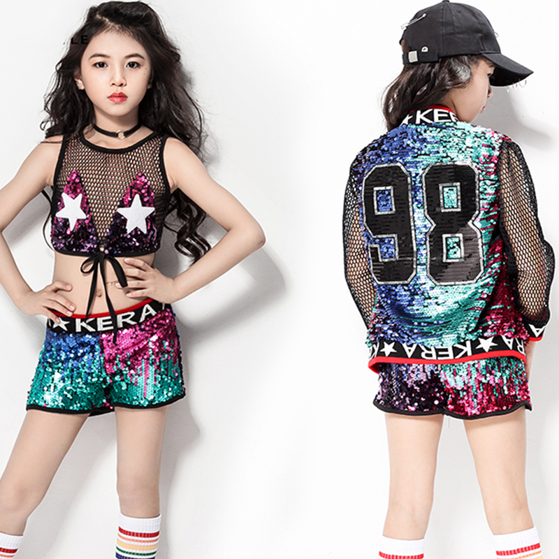 6f26de612895 Girls Jazz Dance Costumes Kids Sequin Vest Shorts Jacket Hip Hop ...
