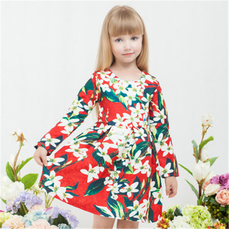 100pcs/lot DHL Girls dress Floral Print Party winter Princess Dress long sleeve Children's clothes Dresses For Girls 3-10Y graceful round collar 3 4 sleeve floral print plus size midi dress for women