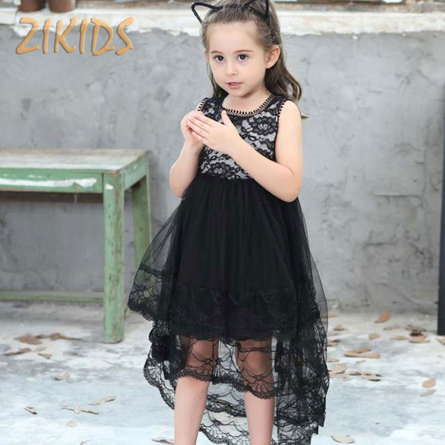 220c02555 1-8y بنات اللباس الصيف الأسود السنونو ذيل موجة حافة الدانتيل الأسود فساتين  الاطفال ملابس