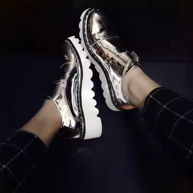 2016 silver flat heel Odette loafers smooth synthetic leather increased comfort platform font b shoes b