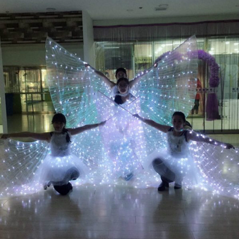 Ruoru Belly Dance Led Wings 8 Modes Adult Split Led Isis Wings with Stick Open 360 Degrees BellyDance Stages Performance Props