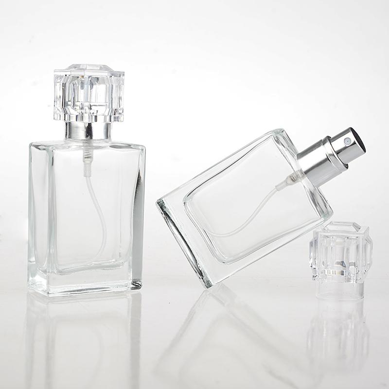 1 Peça 30 ML Moda Portátil Vidro Transparente Frasco de Perfume Com Atomizador de Alumínio Caso Cosmético Vazia Para Viagens