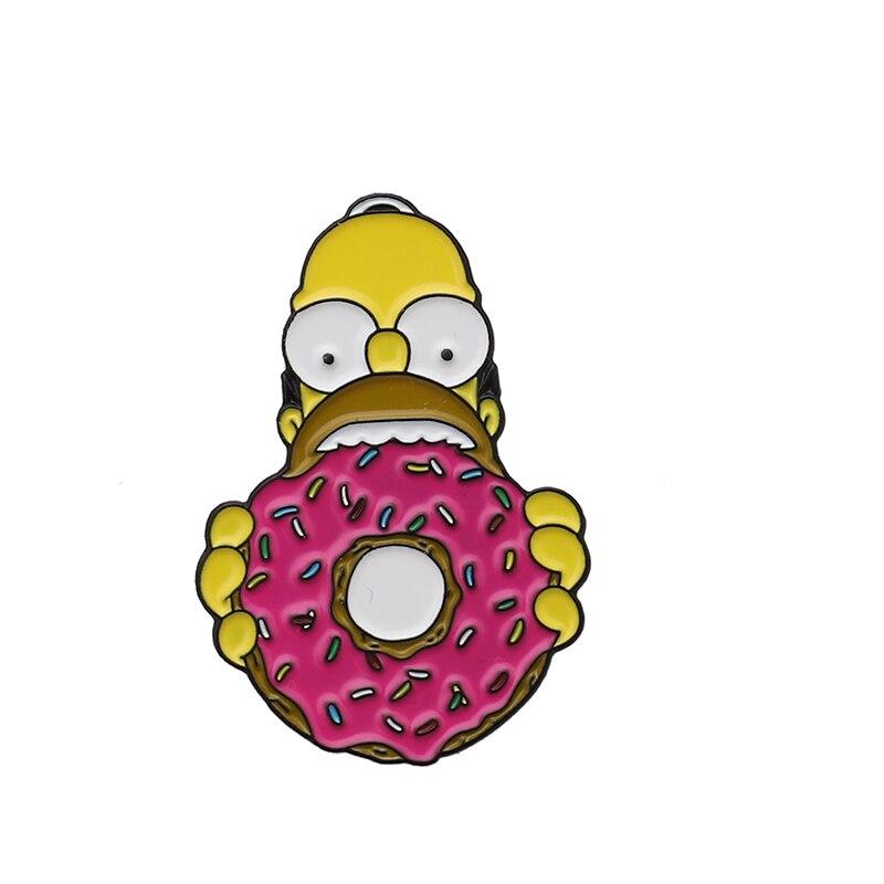 Булавки Симпсоны пончик забавные дизайнерские броши значки Юмор мультфильм рюкзак с эмалевыми вставками булавки для любителей аниме подарки ювелирные изделия оптом - Окраска металла: Style 4