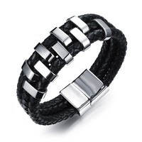 LINSOIR 2017 New Black Weave Leather Bracelet for Men Antique Punk Stainless Steel Magnet Charm Bracelet Male Jewelry Pulseras