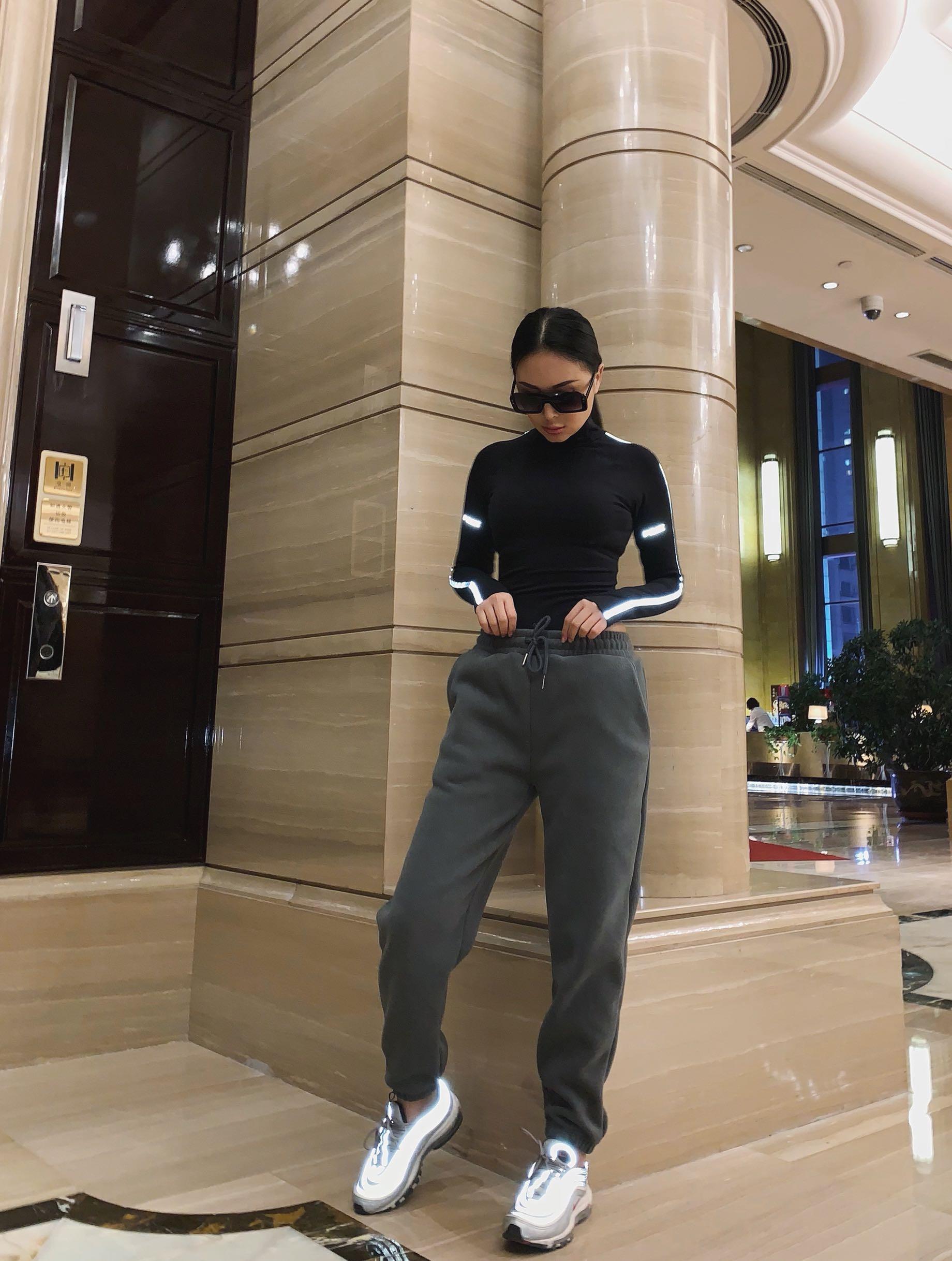 Las Elástica Color Cálido Europa 2018 Mujer De Sólido Promoción Pantalones Limitado Mujeres Invierno Cintura Y Oscuro América Gris Simple Casual Pantalon ZUqBxn