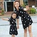 Высокое качество мать и дочь платья семья взгляд платье девушки женщин звезда черное платье родители-потомки девушки ну вечеринку платье