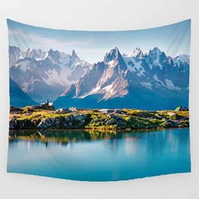 Hot sale beautiful blue sky lake hill creative pretty  pattern wall hanging tapestry home decoration tapiz pared
