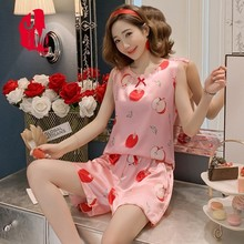 Pyjamas Women Summer Sleepwear Plus Size Pijamas Satin Set Silk Homewear Pajamas Sleep S M L XL XXL