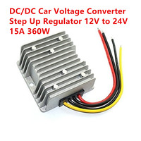 Waterproof DC/DC Car Voltage Converter 12V Step Up to 24V 15A 360W Power Supply