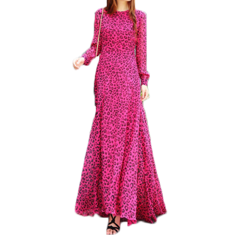Vintage Leopard Print Party Dress With Belt Elegant Womens Long Dresses Maxi Chiffon Mermaid Dress Casual Vestidos Size XL