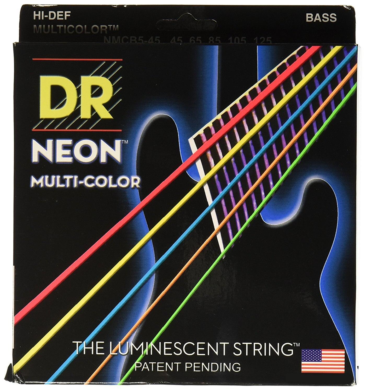 Cordes DR NMCB5-45 cordes DR NEON 5 cordes de guitare basse, moyen, multicolore 45-125, et 7 couleurs supplémentaires disponibles