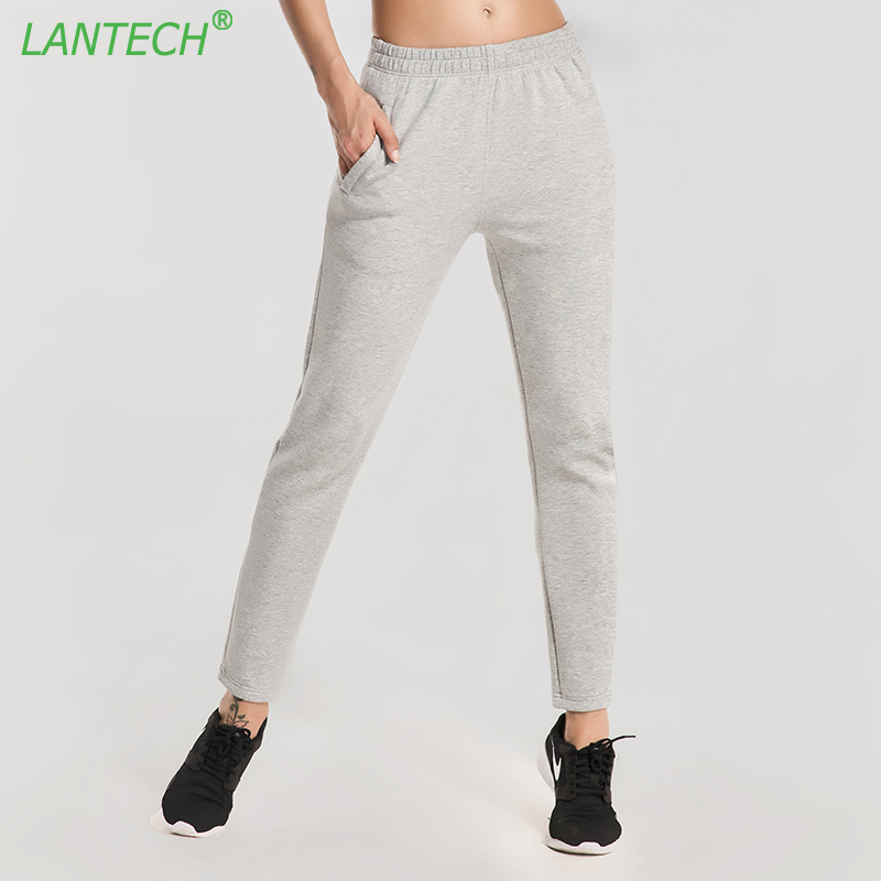 LANTECH Women Running Ninth Pants Ankle Banded Pants Pocket Sports Yoga Run Sportswear Fitness Exercise Gym Pants Clothes