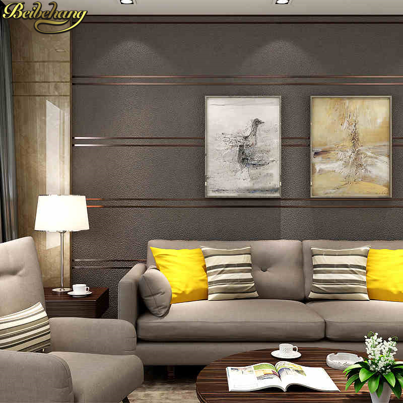 beibehang Modern simple stripes wallpaper for walls 3 d living room sofa TV background decor Thicken buckskin wall paper roll beibehang high quality embossed wallpaper for living room bedroom wall paper roll desktop tv background wallpaper for walls 3 d