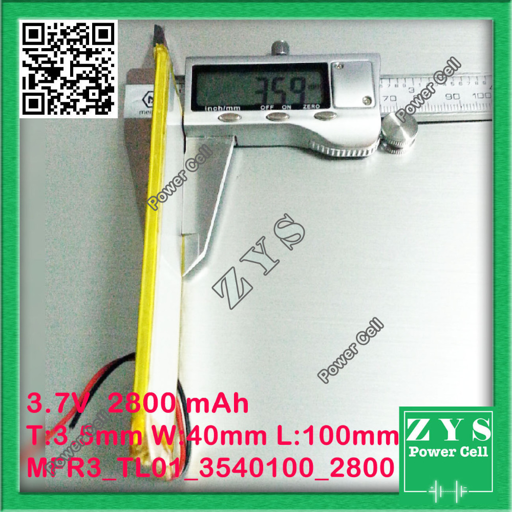 li-ion battery 3.7v 2800mAh battery lithium battery 3.7 v 2800 mah lithium polymer battery 3540100 4040100 for tablet pc