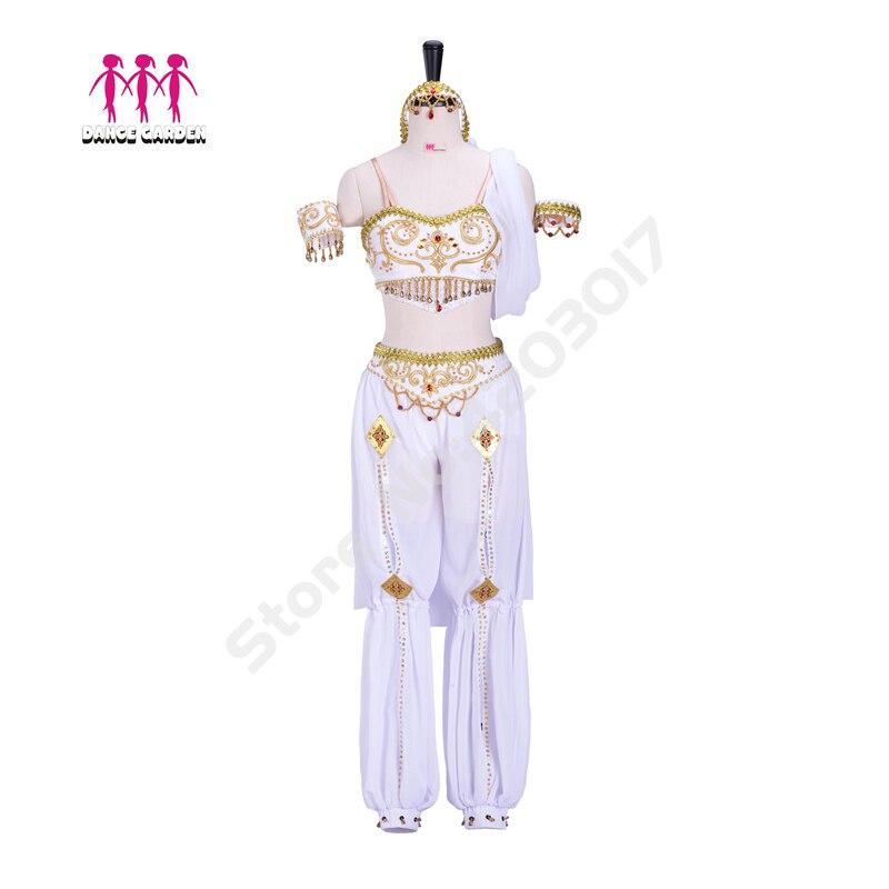 Adulte professionnel Ballet Costumes La Bayadere robe de Ballet blanc or Oriental Ballet scène danse filles danse porter B1291
