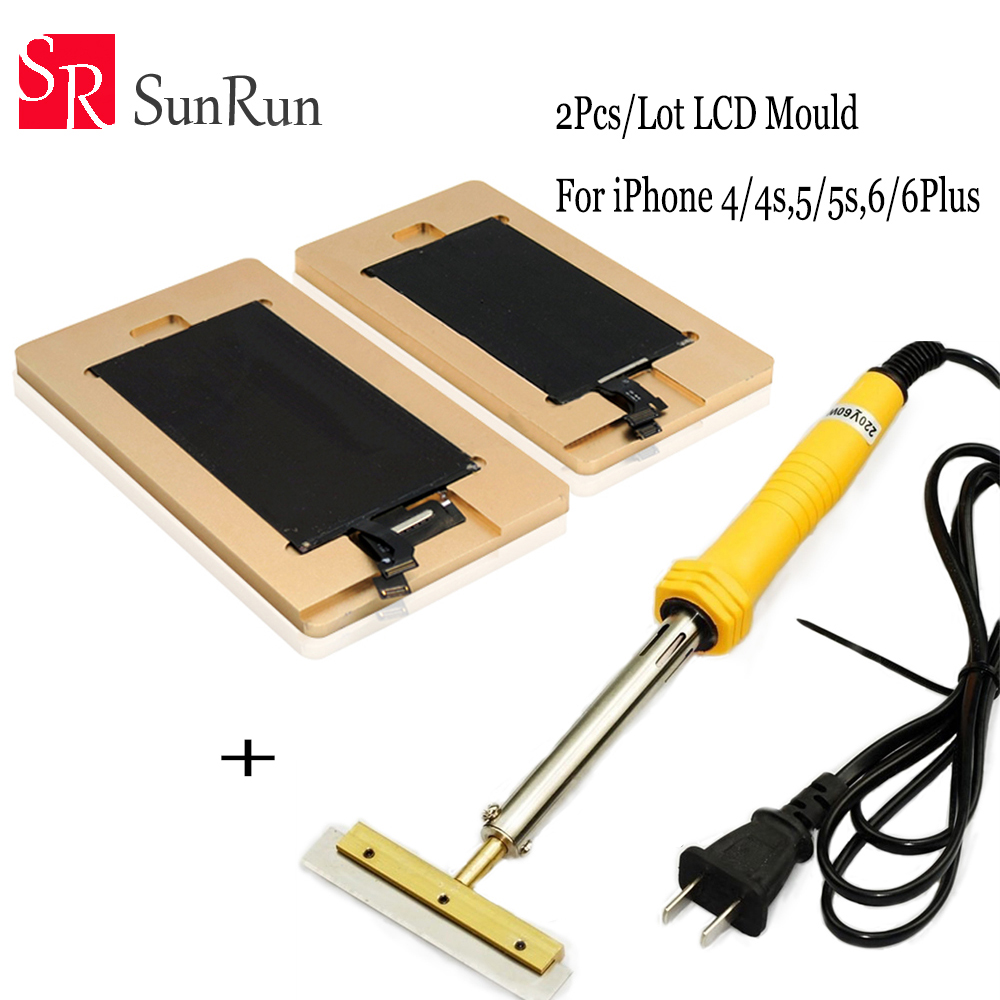 Free Shipping 2pcs/lot remove glue mould for Iphone 4 4s 5 5s 5C 6 6plus LCD screen repair + 60W Remove UV glue soldering iron free shipping precise universal lcd screen position golden fixed mould for iphone samsung sony huawei xiaomi fixture base