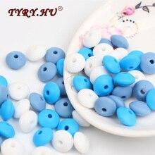 TYRY.HU 60 Pcs / Lot silikoninės drožminės karoliukai BPA Laisvas silikono abacus karoliukas karoliai Pakabukas Kūdikių dantų slaugos apyrankėms gaminti