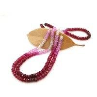 Lii Ji натуральный настоящий драгоценный камень рубиновый плоский круглый форма граненые бусины 1 2mmx3mm DIY ювелирных изделий около 39 см