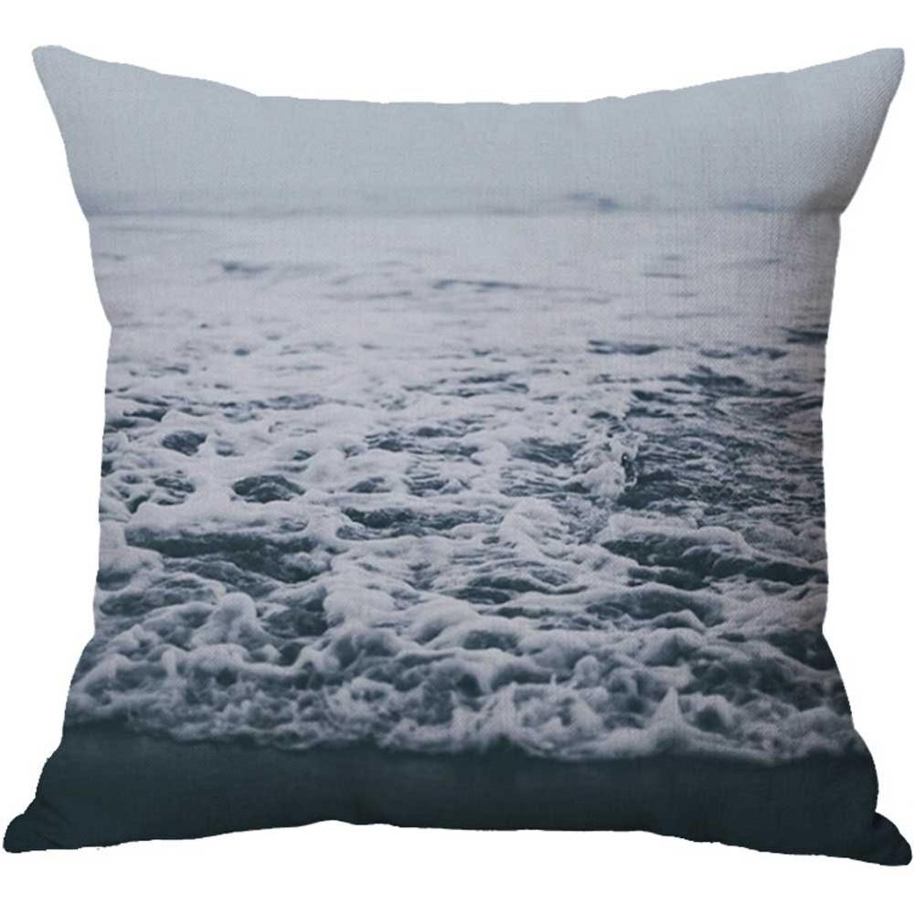 Beautiful Sea Wave Beach Sunset Sand Linen Cushion Cover Decorative Throw Pillow Case Sofa Car Home Mediterranean Style Decor